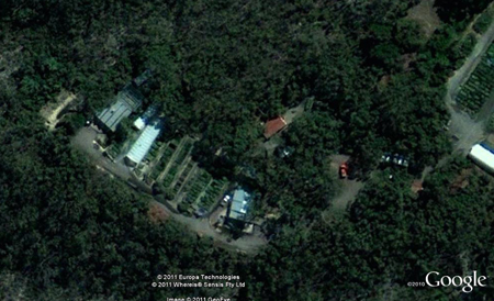Our nursery viewed from above you can see the surrounding bushland